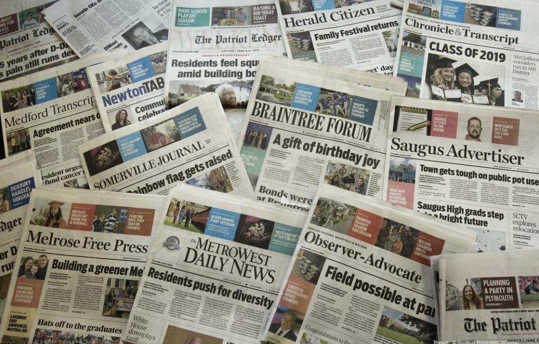 Gannett, recientemente fusionado con GateHouse Media, publica docenas de periódicos locales que son la principal fuente de noticias locales en Massachusetts.  W. MARC BERNSAU