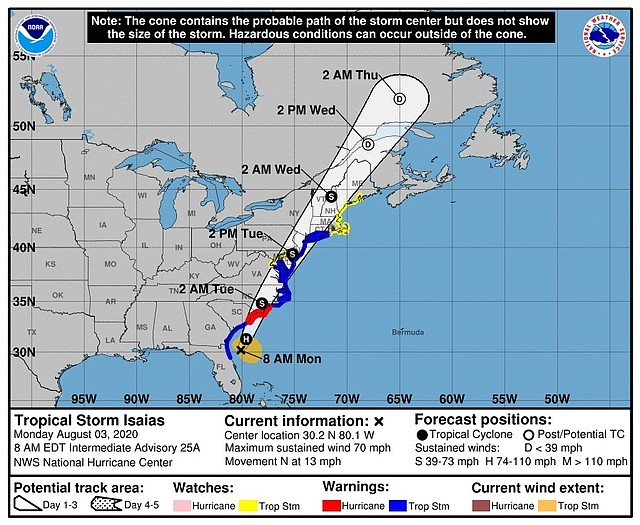 TIEMPO. Pronóstico de cinco días de Isaías en su paso por Estados Unidos. | Foto cedida este lunes por el Centro Nacional de Huracanes/Efe.