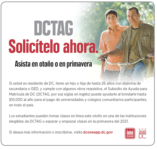 DCTAG es un programa federal, apoyado y administrado por Alcaldía, que da soporte financiero a estudiantes que asisten a escuelas superiores o universidad públicas seleccionadas.