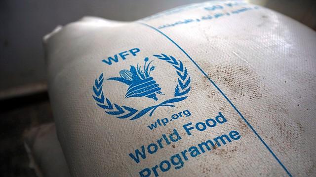 COMIDA. Raciones de alimentos proporcionadas por el Programa Mundial de Alimentos en un centro de distribución de ayuda en Sana'a, Yemen, el 11 de febrero de 2020.   Foto: Efe.