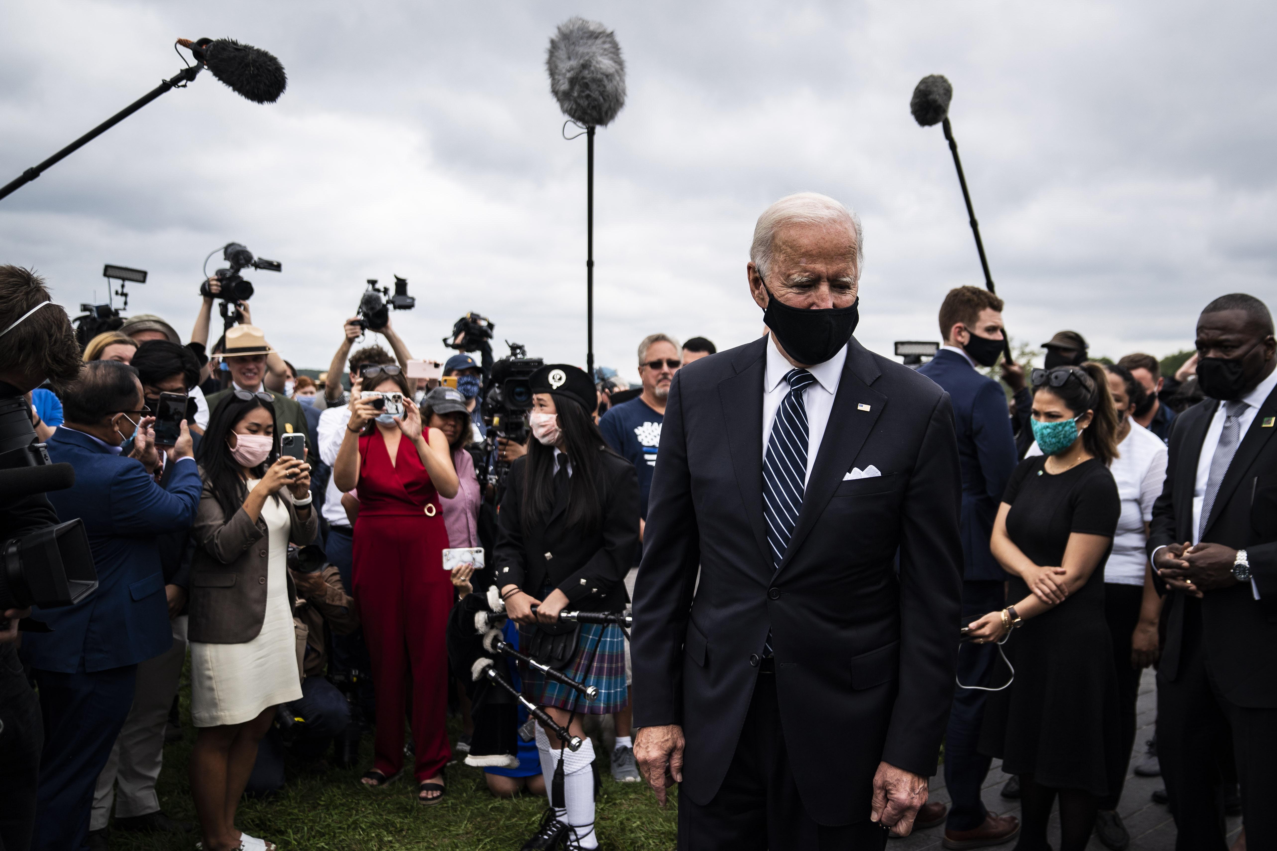 El presidente electo Joe Biden durante un evento en Shanksville, Pensilvania.   FOTO: Jabin Botsford — The Washington Post  