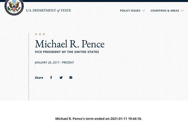 IRREGULARIDAD. Culminación de las labores de Pence como vicepresidente/Captura de pantalla