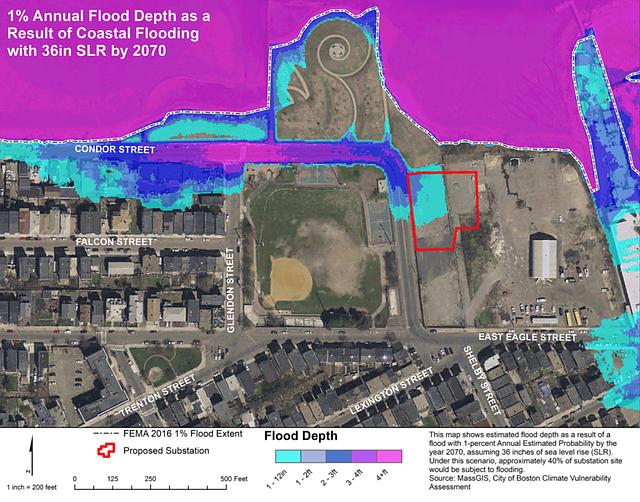 Un mapa que muestra el sitio de la subestación y el potencial riesgo de inundación.