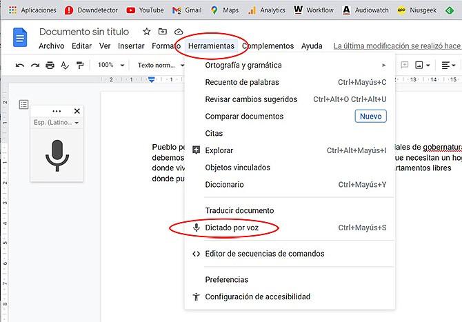 Google Docs añadió una potente herramienta de dictado por voz.