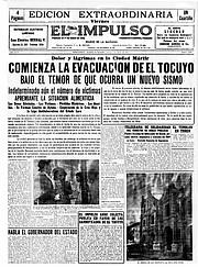Primera plana del diario El Impulso, en el que se reseña el desastre telúrico